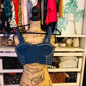 Denim corset crop top